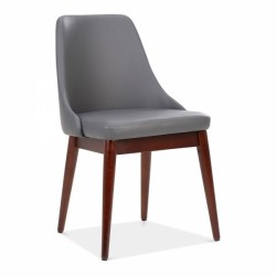 faux leather dining chair in dark grey