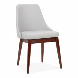 faux leather dining chair in light grey