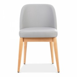 wooden side chair with light grey faux leather 2