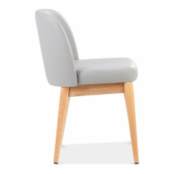 wooden side chair with light grey faux leather 3