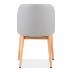 wooden side chair with light grey faux leather 4
