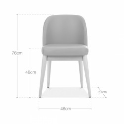 wooden side chair with light grey faux leather dimensions