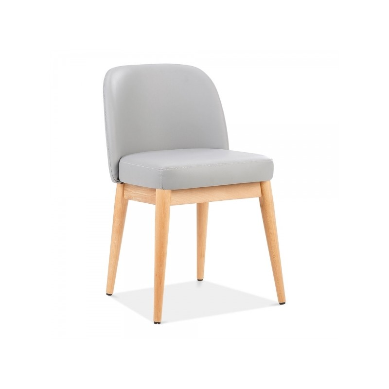 wooden side chair with light grey faux leather
