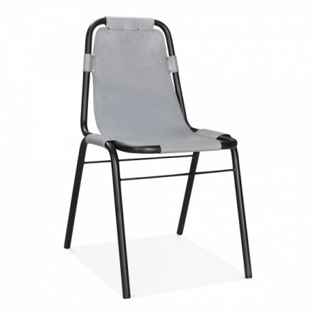 Jupiter Industrial Metal Side Chair Grey Front Angled View