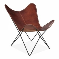 Butterfly Style Distressed Vintage Brown Leather Chair ...