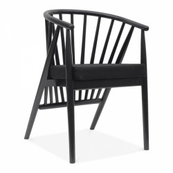 danish black wooden dining chair and black faux leather