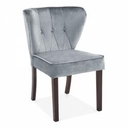 Edenbridge Wingback Velvet Dining Chair Grey Front Angled View