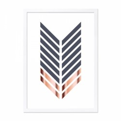 Arrow framed print black, white and copper with a pale grey frame