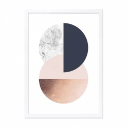 Abstract circle framed print in pink and copper with a wooden frame