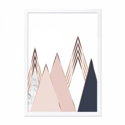 Abstract Mountain framed print with white and pink with a wooden frame