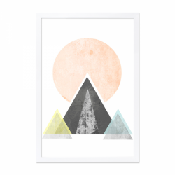 Geometric art framed print with a black mountain and large pink sun in a wooden frame