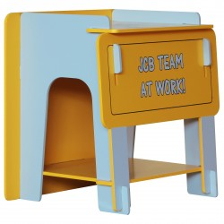 JCB bedside table  with a unique slot together design come in a yellow painted finish