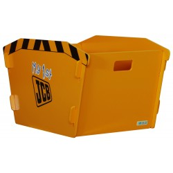 JCB skip toy box with unique slot together design in a yellow paint finish