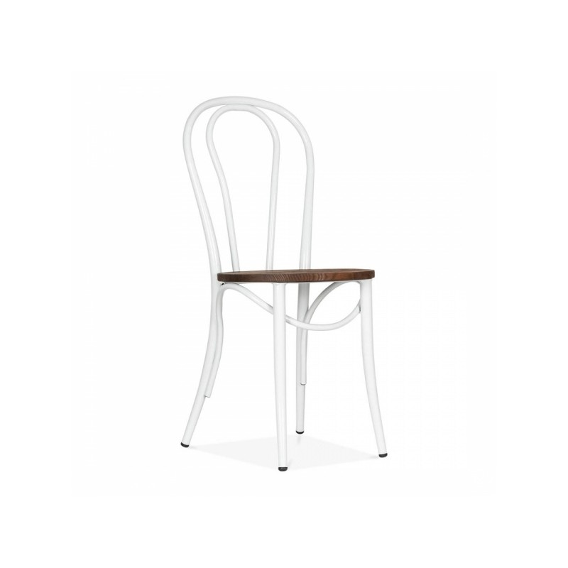 Thonet Style Metal Dining Chair In Gunmetal White Finish