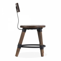 wooden chair Scandinavian design and metal fixing in brown wood 3