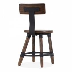wooden chair Scandinavian design and metal fixing in brown wood 4