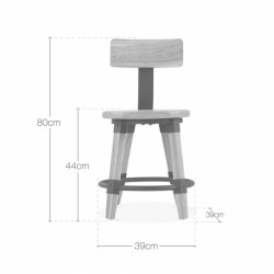 wooden chair Scandinavian design and metal fixing in brown wood dimensions