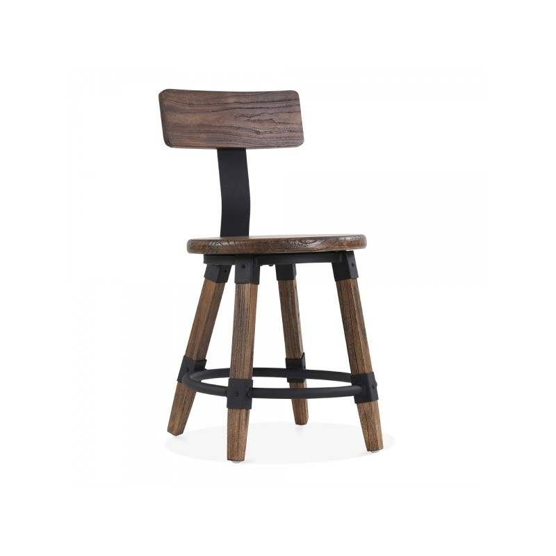 wooden chair Scandinavian design and metal fixing in brown wood