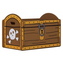 Pirate treasure chest with brown painted design and gold edging
