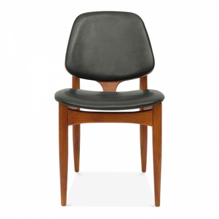 Wooden and faux leather dining chair in grey 2