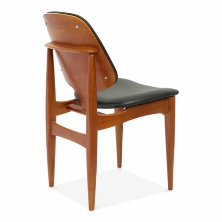 Wooden and faux leather dining chair in grey 4