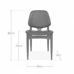 Wooden and faux leather dining chair in black dimensions