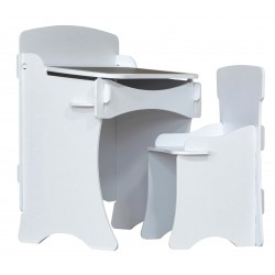 Children's desk and chair in white painted finish. Easily slots together.