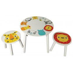 Safari table and 2 stools with animal face prints. Easily assembled.