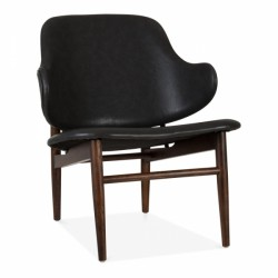 retro faux leather easy lounge chair in black