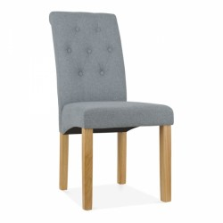 high back fabric dining chair with button back design in grey
