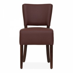 brown faux leather dining chair 2