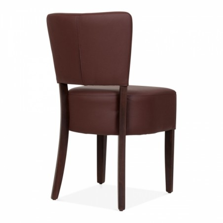 brown faux leather dining chair 4