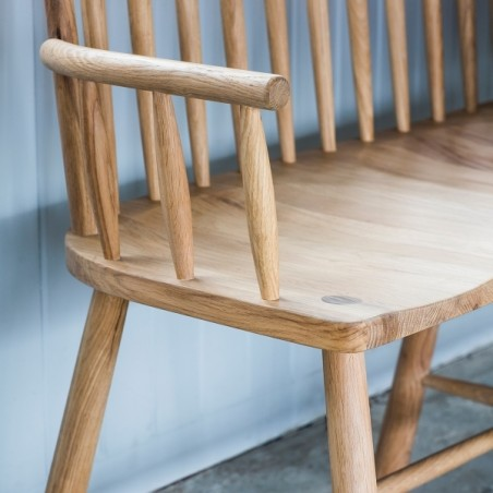 loveseat bench in natural oak left arm