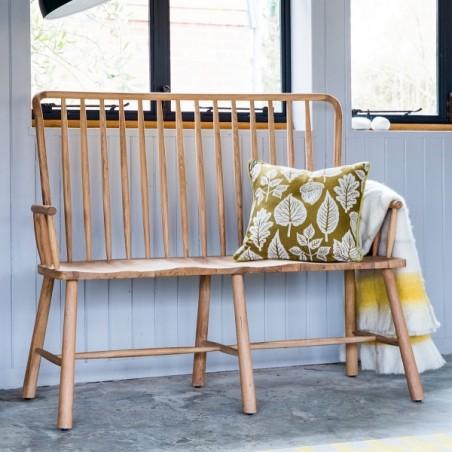 loveseat bench in natural oak