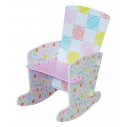 Country cottage rocking chair in pastel shades.