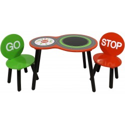 Racing car table and chairs comes with a chalkboard.