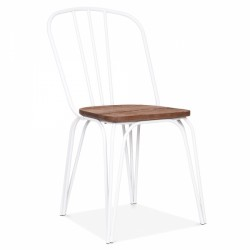 metal dining chair with wooden dark brown seat in white