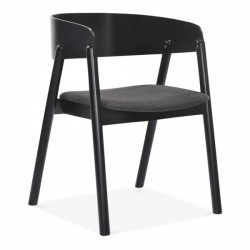 scandinavian modern dining armchair in dark grey and black wood