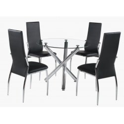 Fangio four person dining set with clear glass