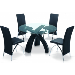 Alboreto dining set with a circular glass table