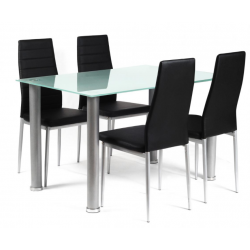 vettel four person dining set with a glass table