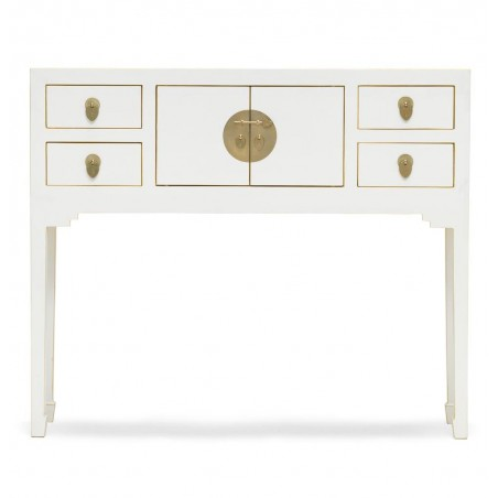 Hikina White Console Table Front