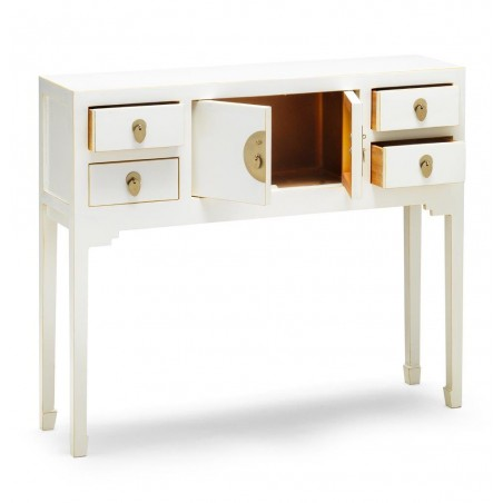 Hikina White Console Table Open