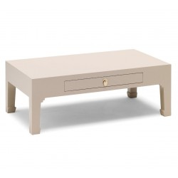 Hikina Oyster Grey Coffee Table with Drawer Angle