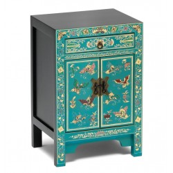 Hikina Oriental Decorated Blue Small Cabinet Angle