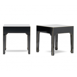 Hikina Black and Gilt Pair of Lamp Tables