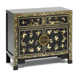 Hikina Oriental Decorated Black Sideboard Angle