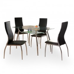 Alesi four person dining set with a rectangular glass table