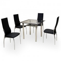 Alesi four person dining set with a square table