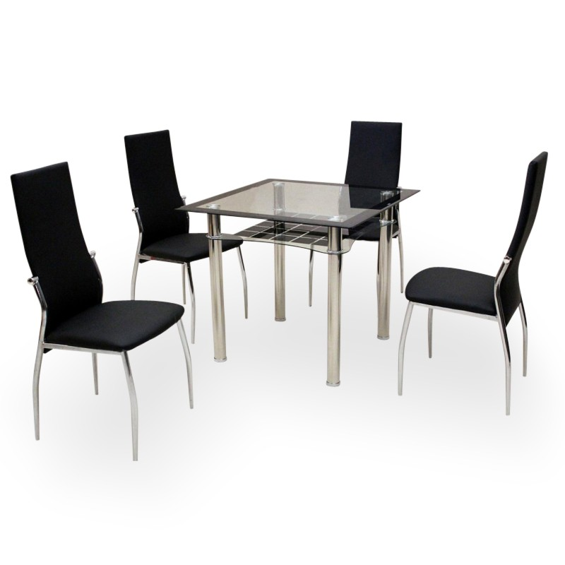 white gloss four person dining set alesi square. Black Bedroom Furniture Sets. Home Design Ideas